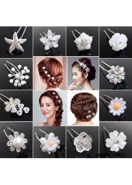 Bridal Plate Hair Jewelry Flower Hairpin Hairpin Diamonds Three Pieces