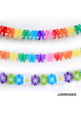 5 Pieces Of Colorful Paper Party Flowers About 30 Grams, The Total Length Is About 3.5 Meters.