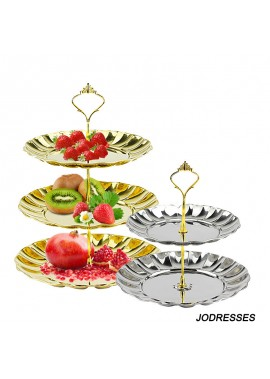 2PCS Double Layer Fruit Tray Stainless Steel Fruit Tray Large Disc Diameter 20CM Small Disc Diameter 18CM