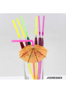 100PCS Party Disposable Straws 5*240MM Fluorescent Umbrella