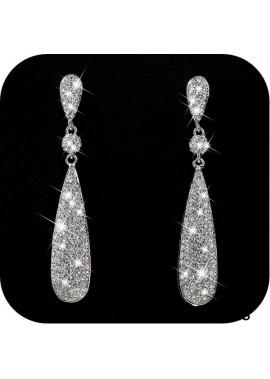 4.8CM Costume Jewelry Women's Champagne Diamond Golden Dangle Drop Earrings
