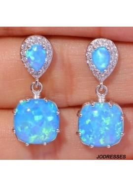Accessories Fashion Female Opal Silver Plated Opal Earrings