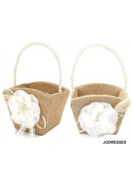 2PCS Burlap Flower Girl Basket Pearl Handle for Vintage Rustic Wedding Ceremony 13*22CM