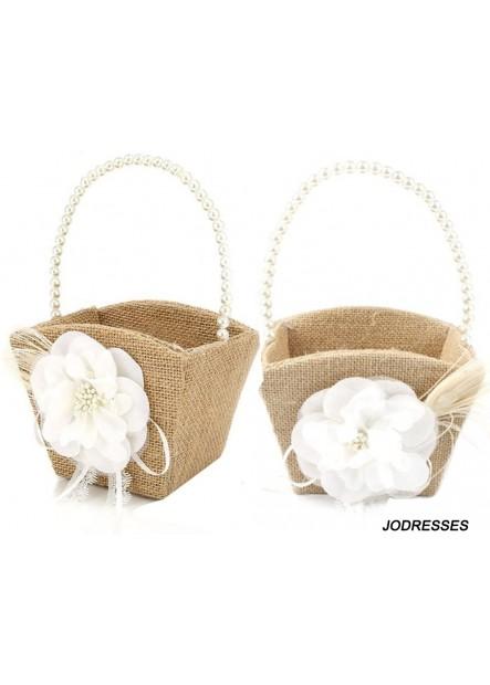 2PCS Burlap Flower Girl Basket Pearl Handle for Vintage Rustic Wedding Ceremony 13*22CM