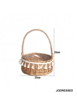 2PCS Floral Flower Arrangement Wicker Portable Wedding Flower Girl Basket 26*20CM