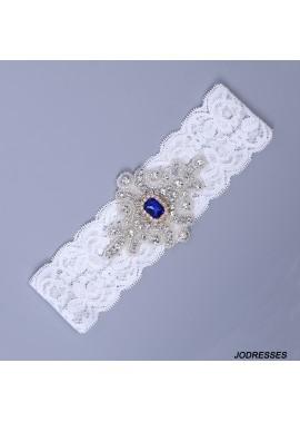 Bridal Lace Garter Set Wedding Garter With Blue Pearls