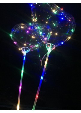 10PCS 18 Inch Led Transparent Rod With Glowing Wave Ball Flashing Heart Shaped Balloon