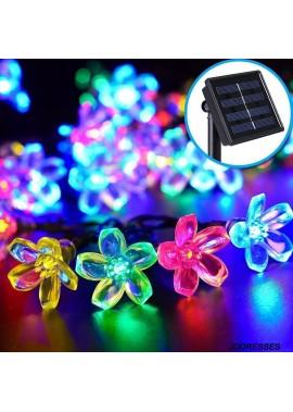 LED Solar Light String Cherry Blossom Flower Shape Flashing Light Peach Blossom Light String