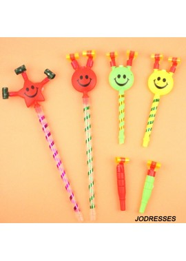 30PCS Large Smiley Faces Blowing Dragon Whistle 38CM Long / It Will Be About 62CM Long After All Blown