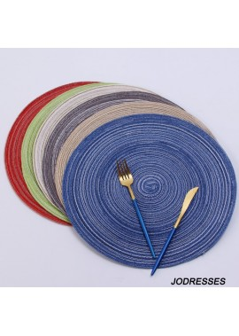 6PCS Nordic Cotton Yarn Round Table Mat Round Diameter 11CM