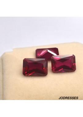 10pcs Octagonal rectangular ruby ring-faced bare stone