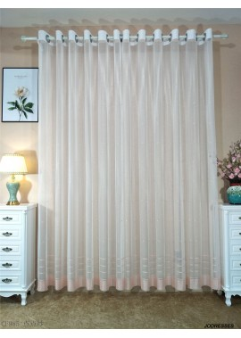 Simple Embroidered Window Screen White 2.75 Meters