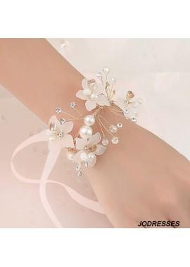 Beautiful Bride Wrist Flowers Wedding Bridal Wrist Flower Corsage Hand Flower Decor for Prom Party Wedding Homecoming