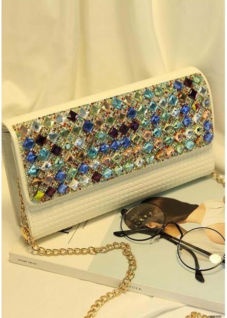Female One Shoulder Chain Color Diamond Handbags T901556093465