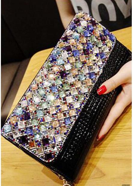 Female One Shoulder Chain Color Diamond Handbags T901556094612