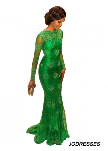 Long Sleeves Green Mermaid Long Evening Gown T801524704017