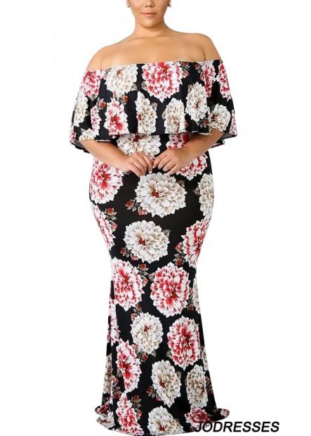 Black Floral Off Shoulder Ruffles Sexy Maxi Plus Size Bodycon Dress T901554192492