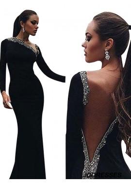 Jodresses Black Mermaid Long Evening Dress T801524703948